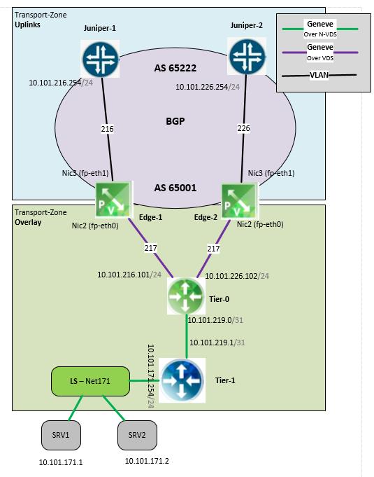 VMware NSX-T and Juniper dynamic routing via BGP - SharonTools